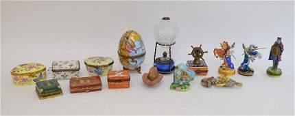 Collection 15 Limoges porcelain boxes, largest hot air
