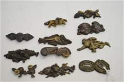 11 Antique Japanese Bronze Koshirae  Largest Two Koi