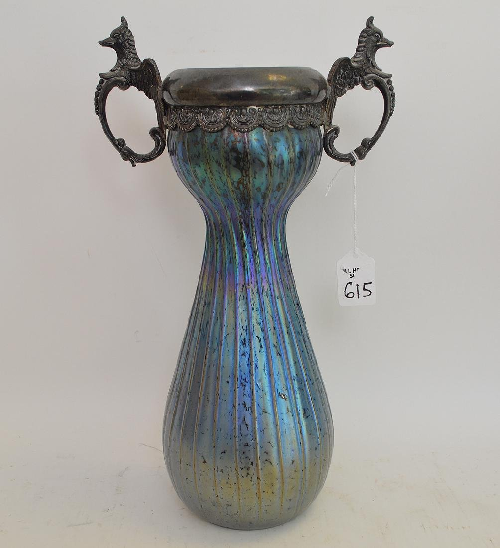 Loetz Art Glass & Metal Vase.  Signed Loetz Austria.