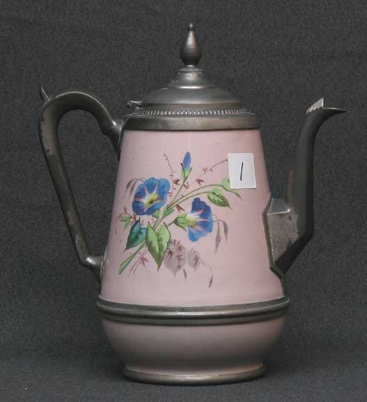 1: English, 19th century enameled and pewter coffee pot