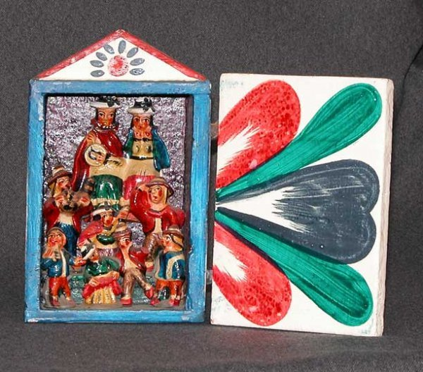 4: South American retablo, single door, painted red, gr