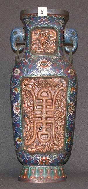8: Oversized cloisonné vase, circa 1900, pair of elepha