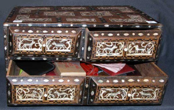 11: South American 19th century chest with mother of pe