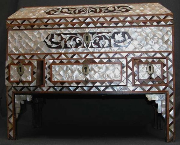12: Antique, heavily embellished, mother of pearl and t
