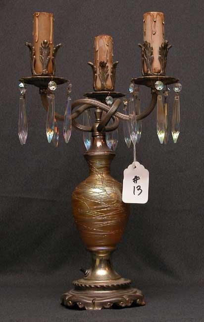 13: Durand art glass lamp gold swirls 3 lights on 1 1
