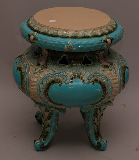 14: Large, Majolica pottery pedestal turquoise
