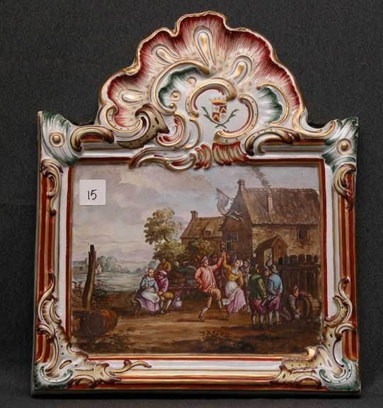 """15: Continental painted wall plaque, """"Lille"""", medieval"""