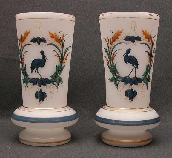 17: Pair of opaline vases, floral & bird decoration, 11