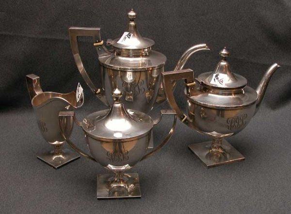 19: 4 piece sterling Schofield tea service