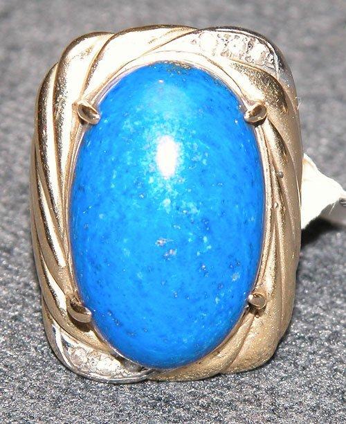 510: 14k gold ring, large oval lapis 22 x 14mm, set on
