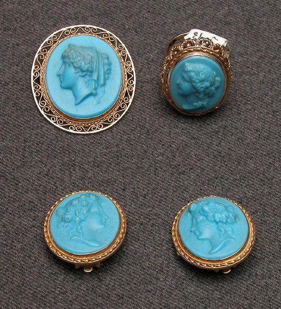 511A: Cameo clip earrings and pin,  blue composition ca