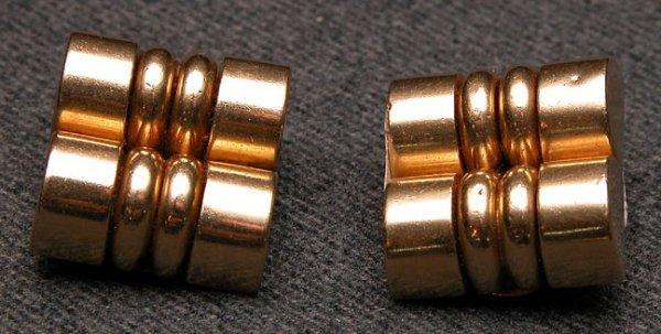 514: Earrings, 14K yellow clip, 12 dwt, square shape