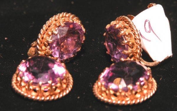 518: Earrings, double oval amethyst drops, screw back,