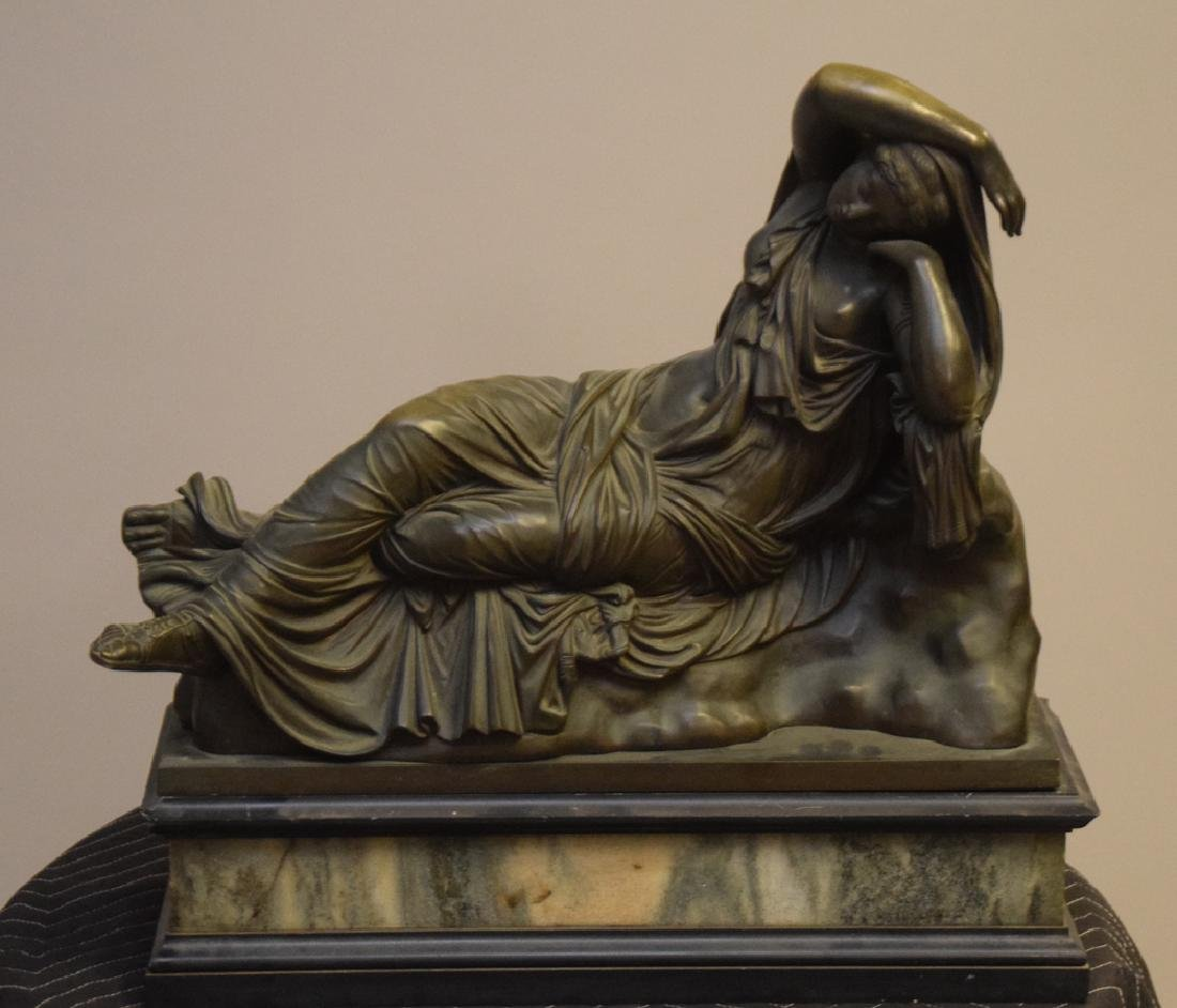 Antique Bronze Reclining Maiden on a marble base. Ht. - 2