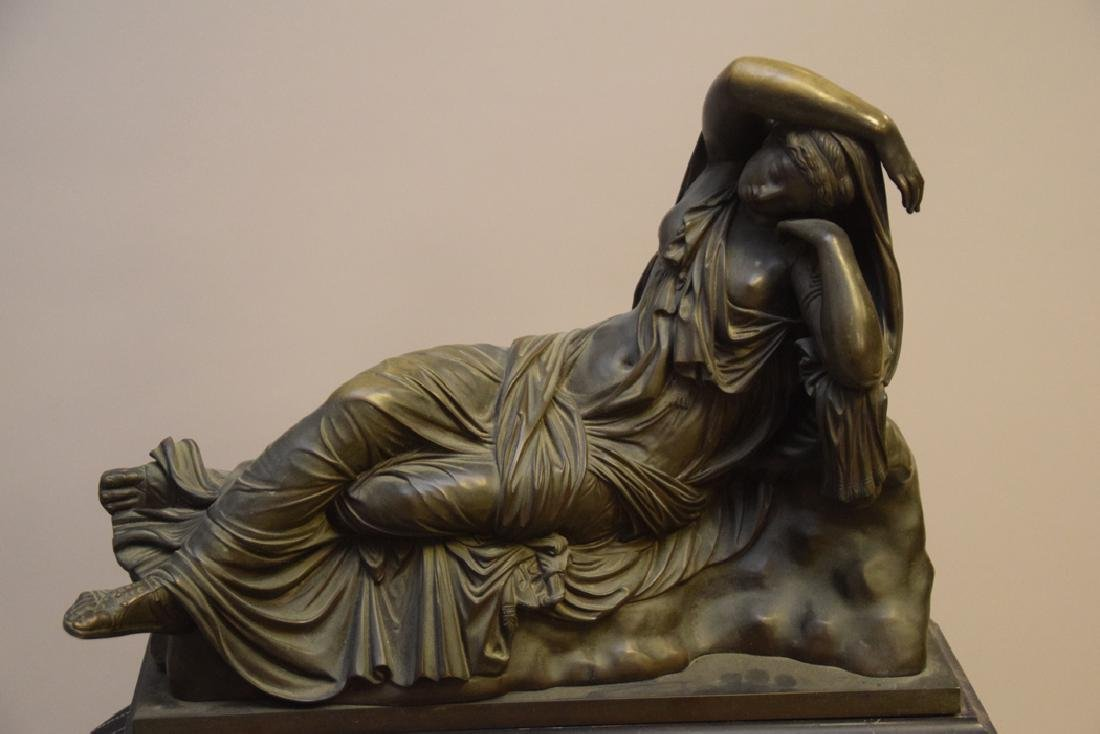 Antique Bronze Reclining Maiden on a marble base. Ht. - 3