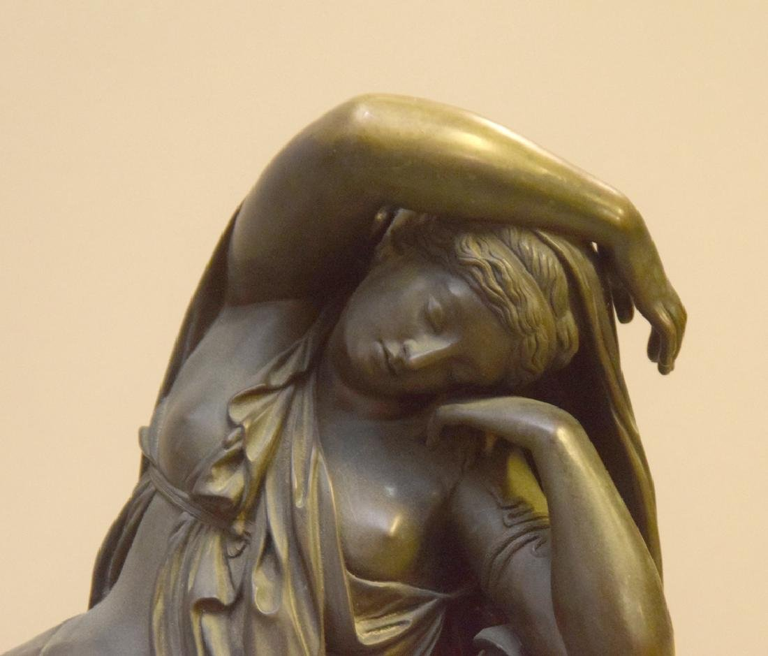Antique Bronze Reclining Maiden on a marble base. Ht. - 4