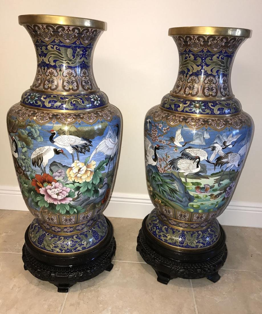 Pair large cloisonné vases on custom carved bases, 30 - 10