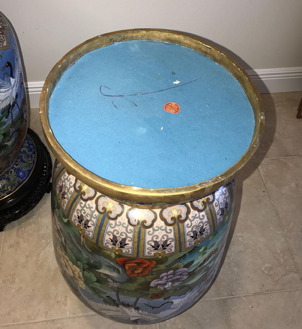 Pair large cloisonné vases on custom carved bases, 30 - 11