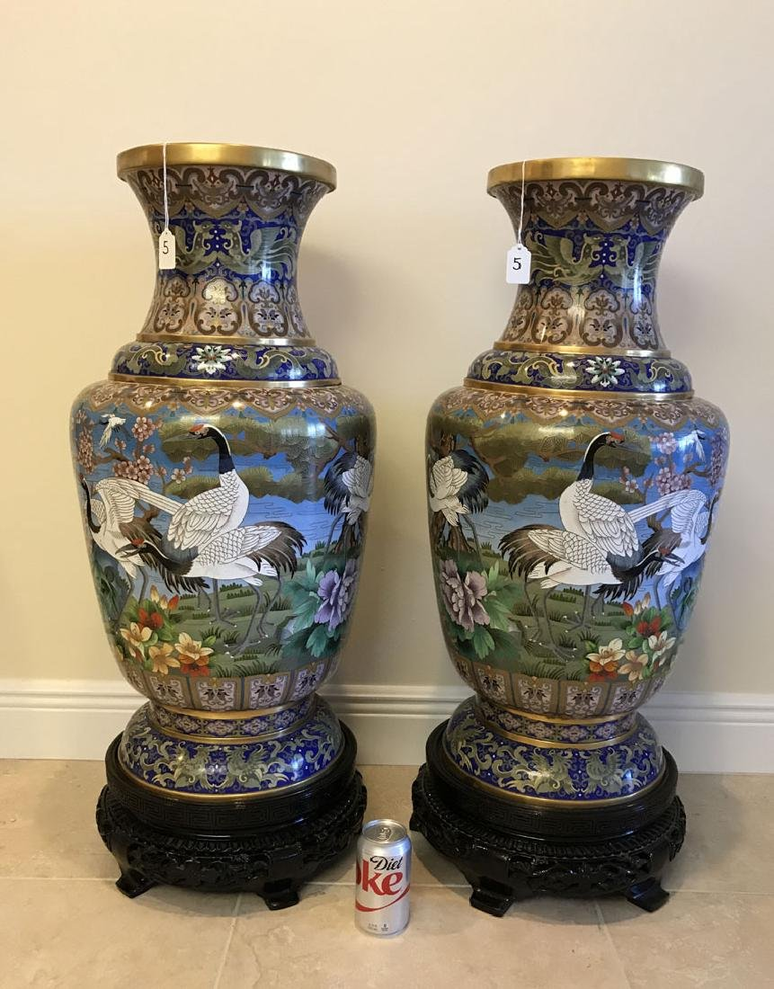 Pair large cloisonné vases on custom carved bases, 30