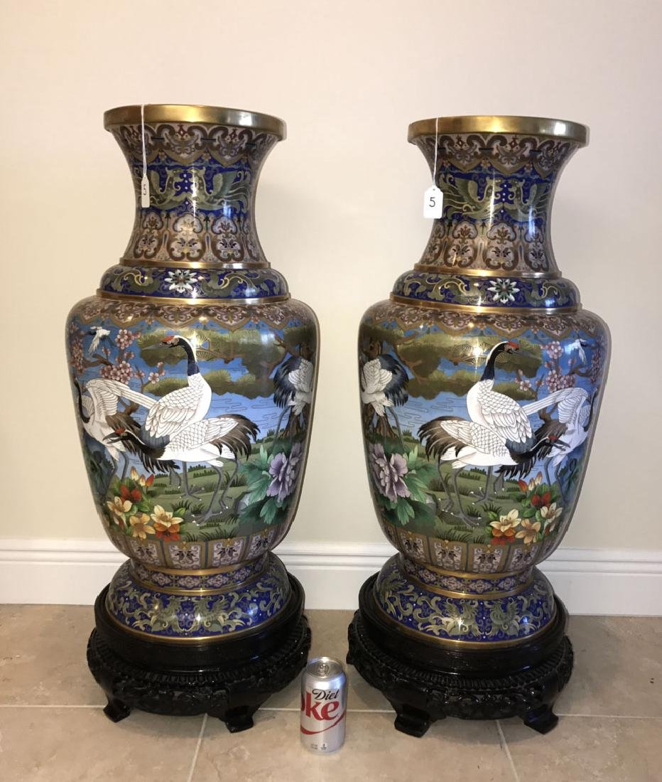 Pair large cloisonné vases on custom carved bases, 30 - 2