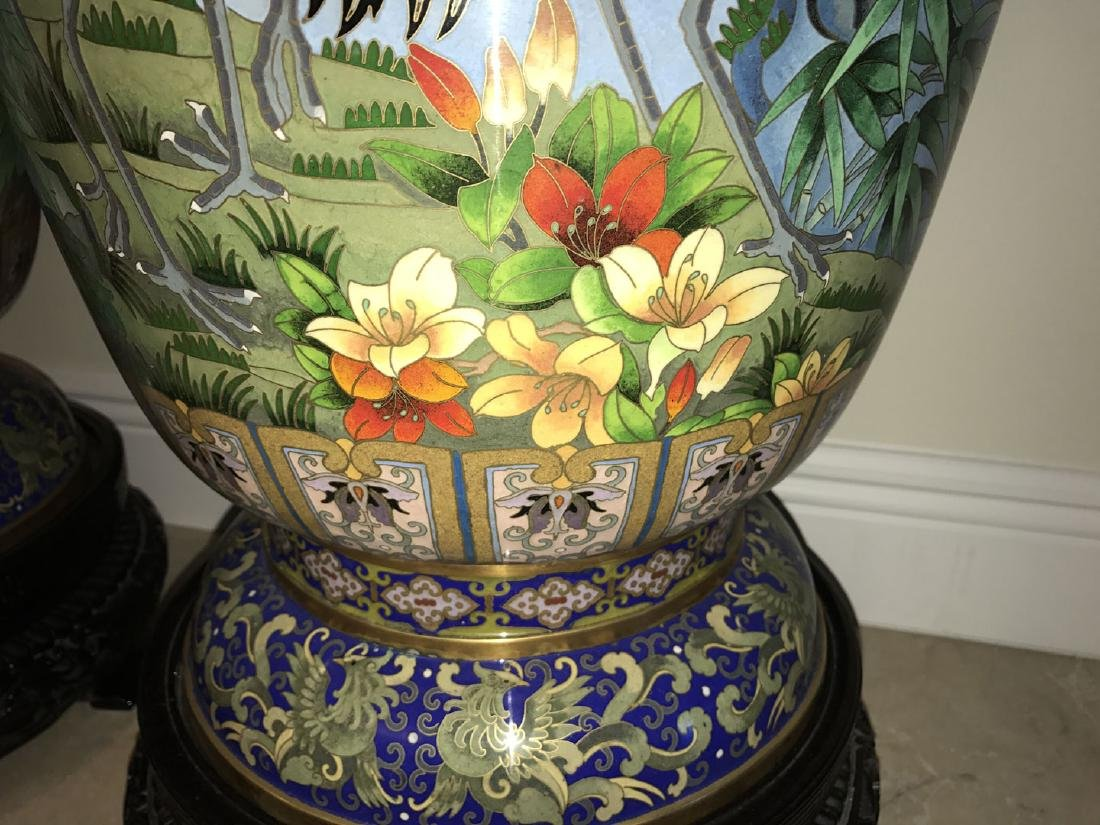 Pair large cloisonné vases on custom carved bases, 30 - 6