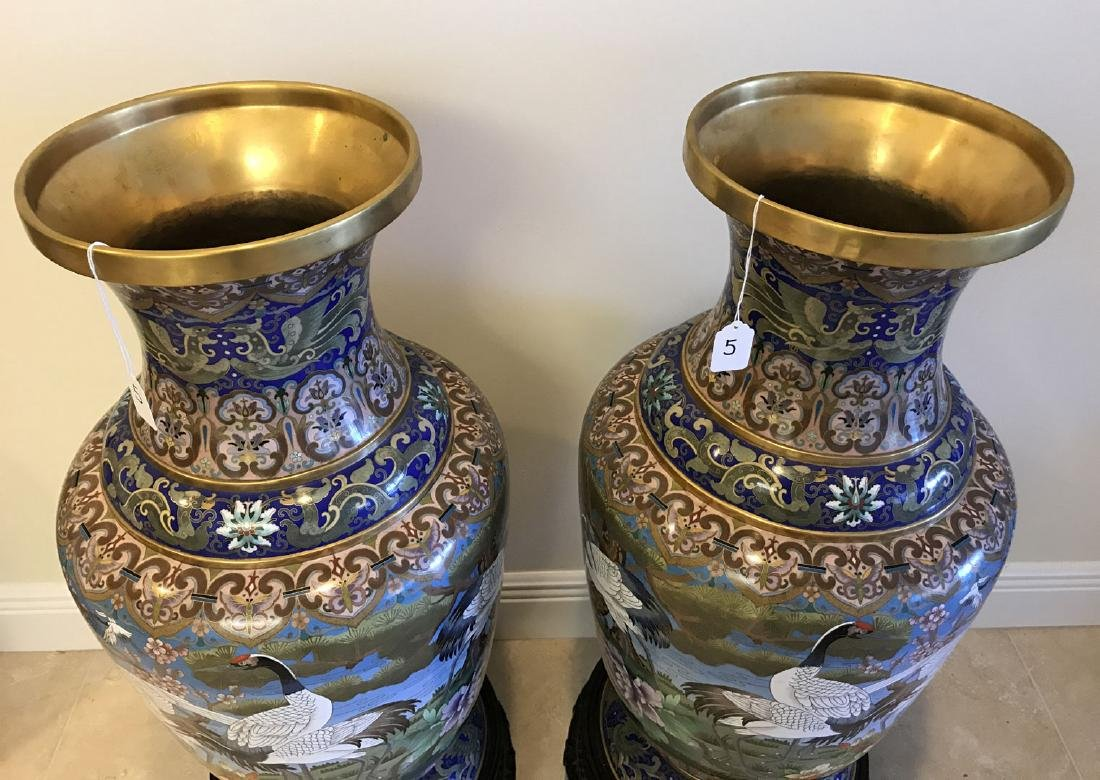 Pair large cloisonné vases on custom carved bases, 30 - 8