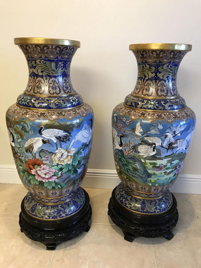 Pair large cloisonné vases on custom carved bases, 30 - 9