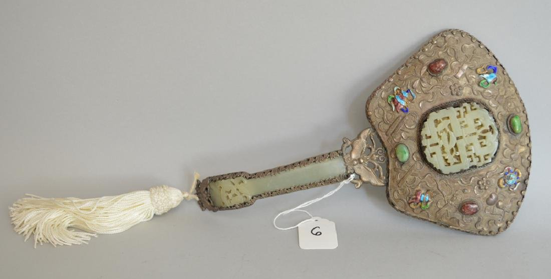 Chinese Silver & Enamel Mirror with jade inserts.  Lth.