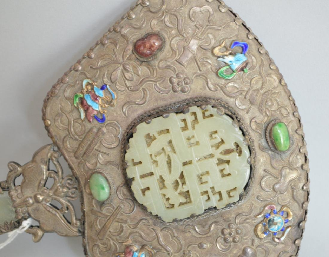 Chinese Silver & Enamel Mirror with jade inserts.  Lth. - 2