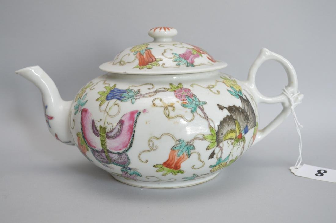Chinese Porcelain Teapot with hand painted floral and
