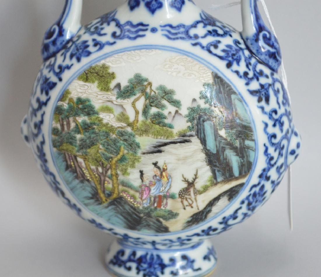Chinese Porcelain Vase with hand painted garden scene - 2