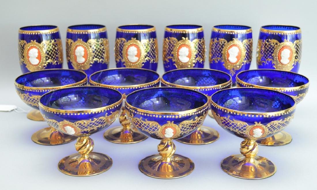 12 Venetian Glass Stems cobalt with enamel decoration.