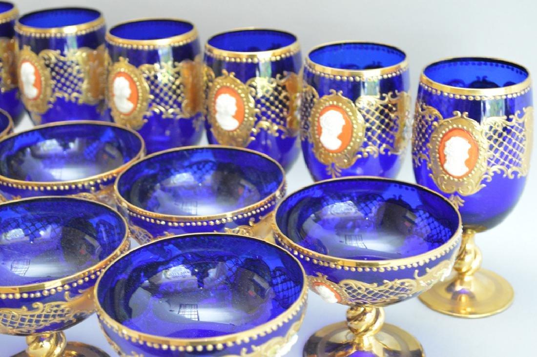12 Venetian Glass Stems cobalt with enamel decoration. - 2