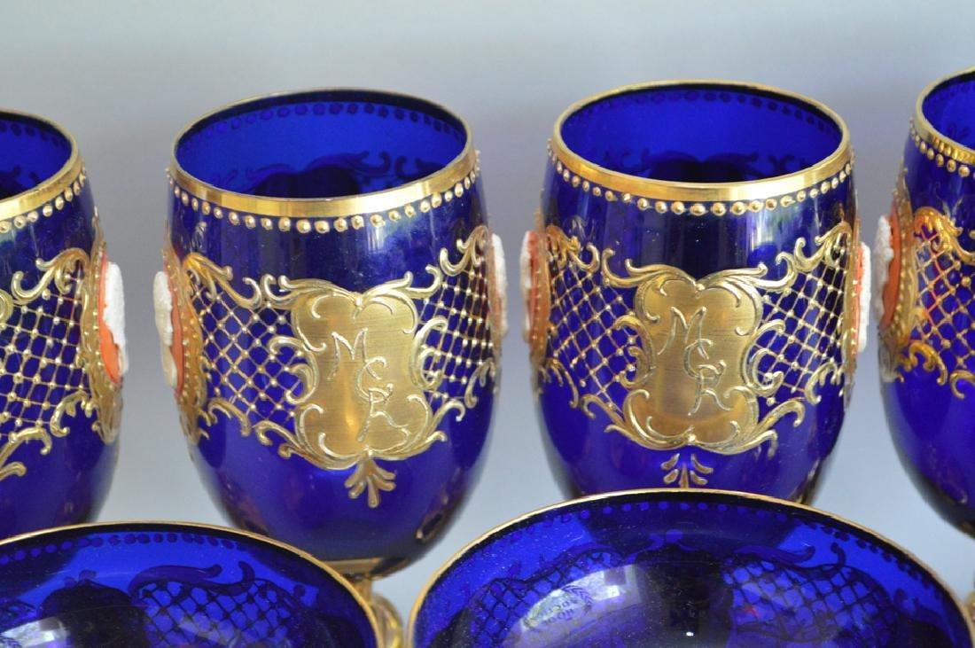12 Venetian Glass Stems cobalt with enamel decoration. - 3