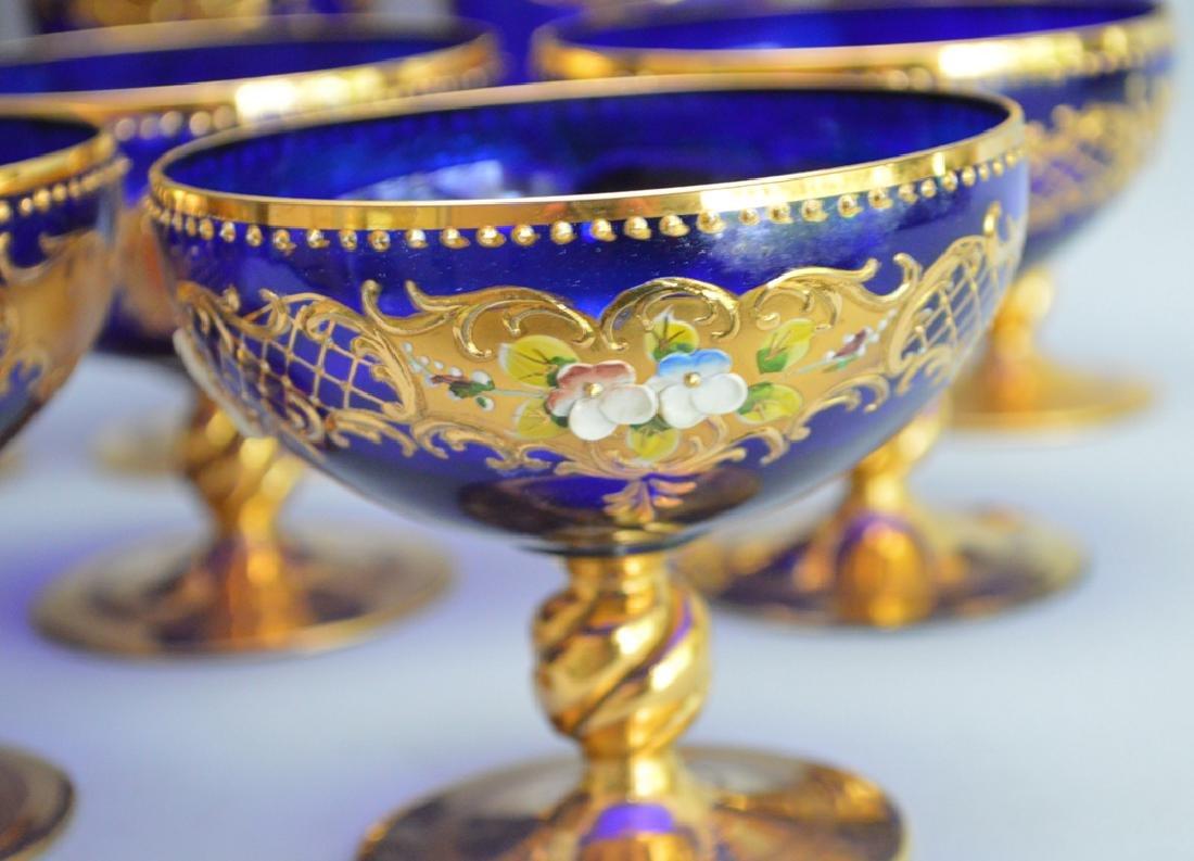 12 Venetian Glass Stems cobalt with enamel decoration. - 4
