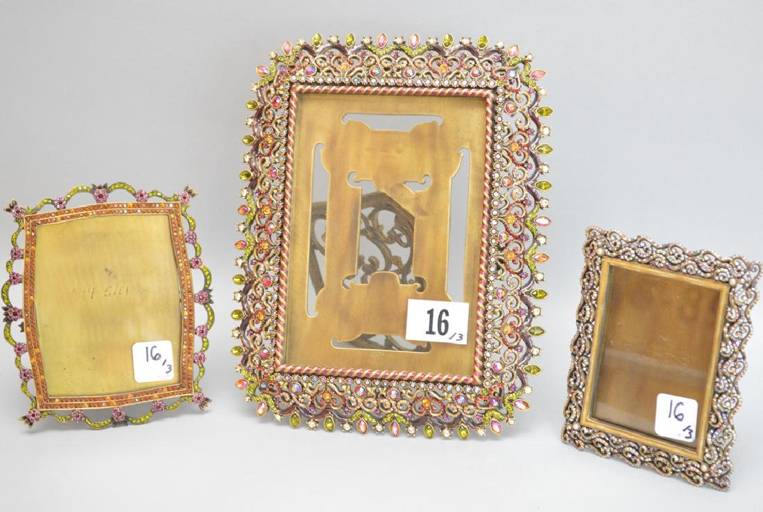3 Jay Strongwater Frames.  Largest Ht. 10 1/2 Middle