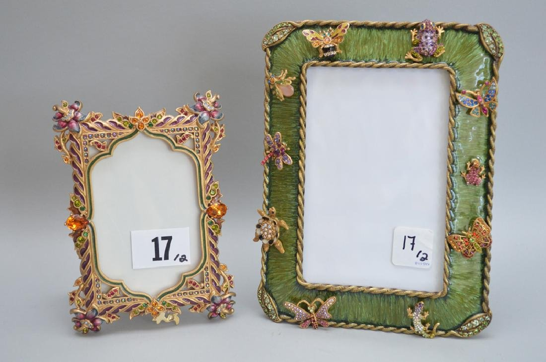 2 Jay Strongwater Enamel Frames.  1 Frame with ten