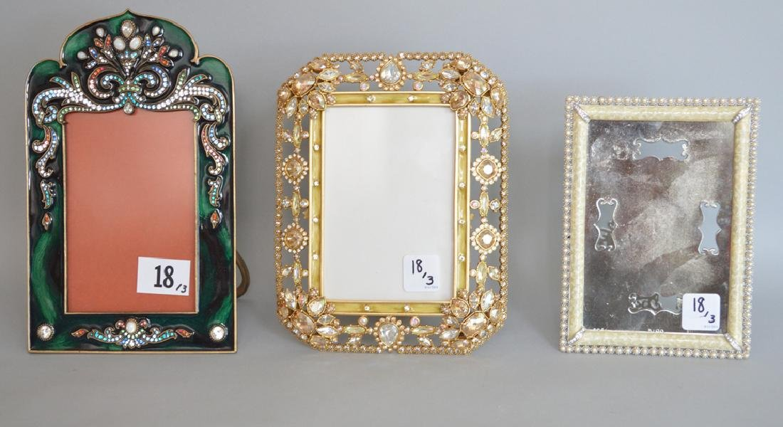 3 Jay Strongwater Enamel & Jeweled Frames.  Condition: