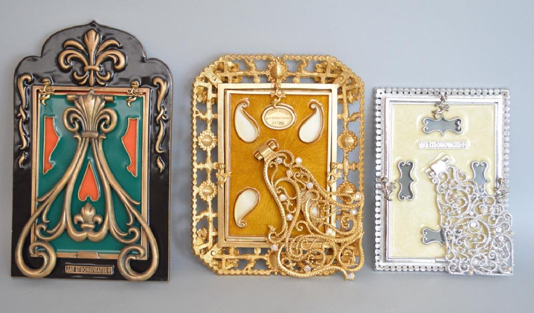 3 Jay Strongwater Enamel & Jeweled Frames.  Condition: - 5
