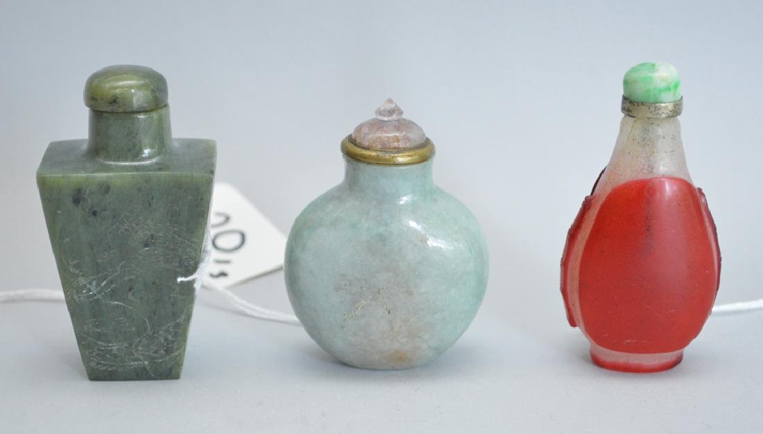 3 Antique Snuff Bottles.  1 Jade Ht. 2 1/4, 1 Chinese