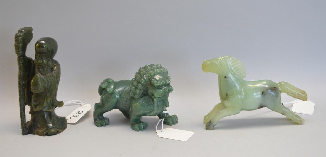 3 Jade Carvings.  Wise Man Ht. 5 1/8, Foo Dog Ht. 3 Lth