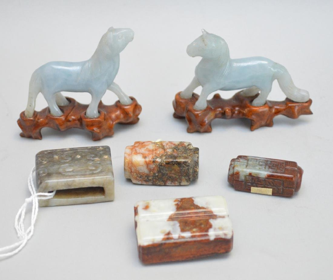 6 Carved Chinese Articles.  4 Jade Carvings 2 Horses