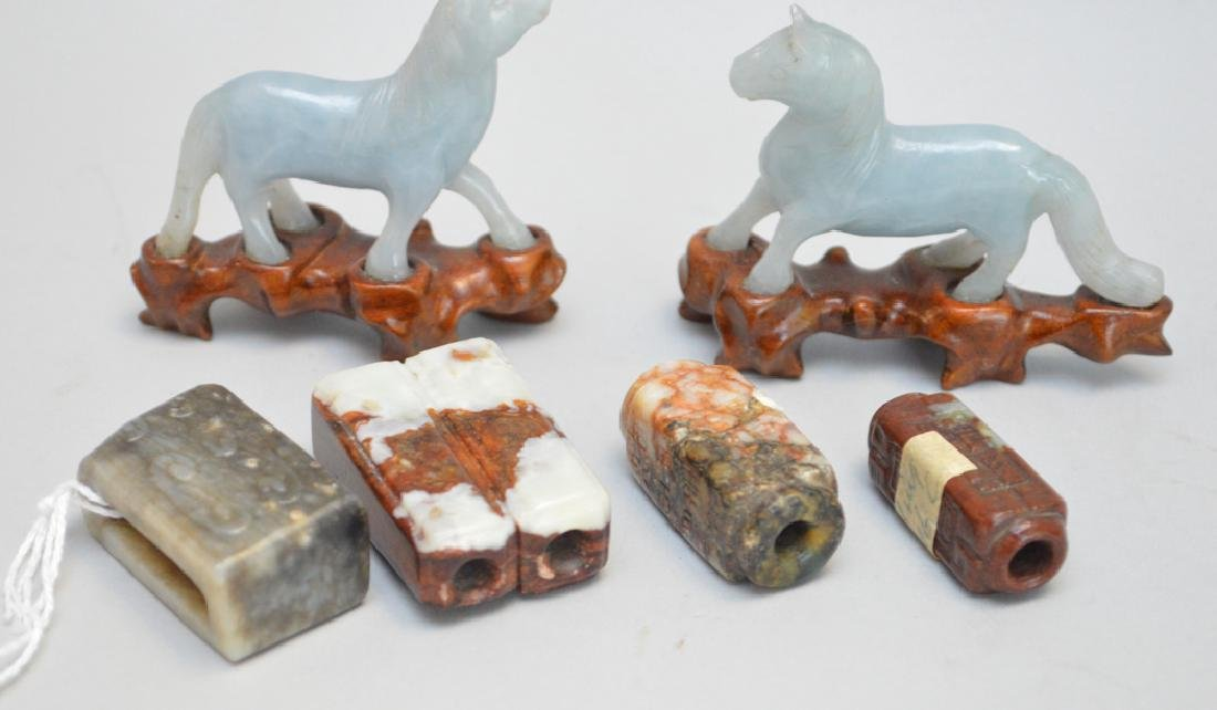 6 Carved Chinese Articles.  4 Jade Carvings 2 Horses - 3