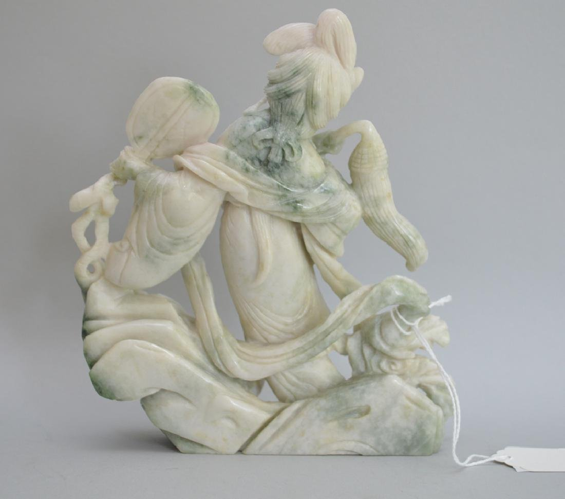 Carved Jade Quan Yin Figure, the color green moving to - 2