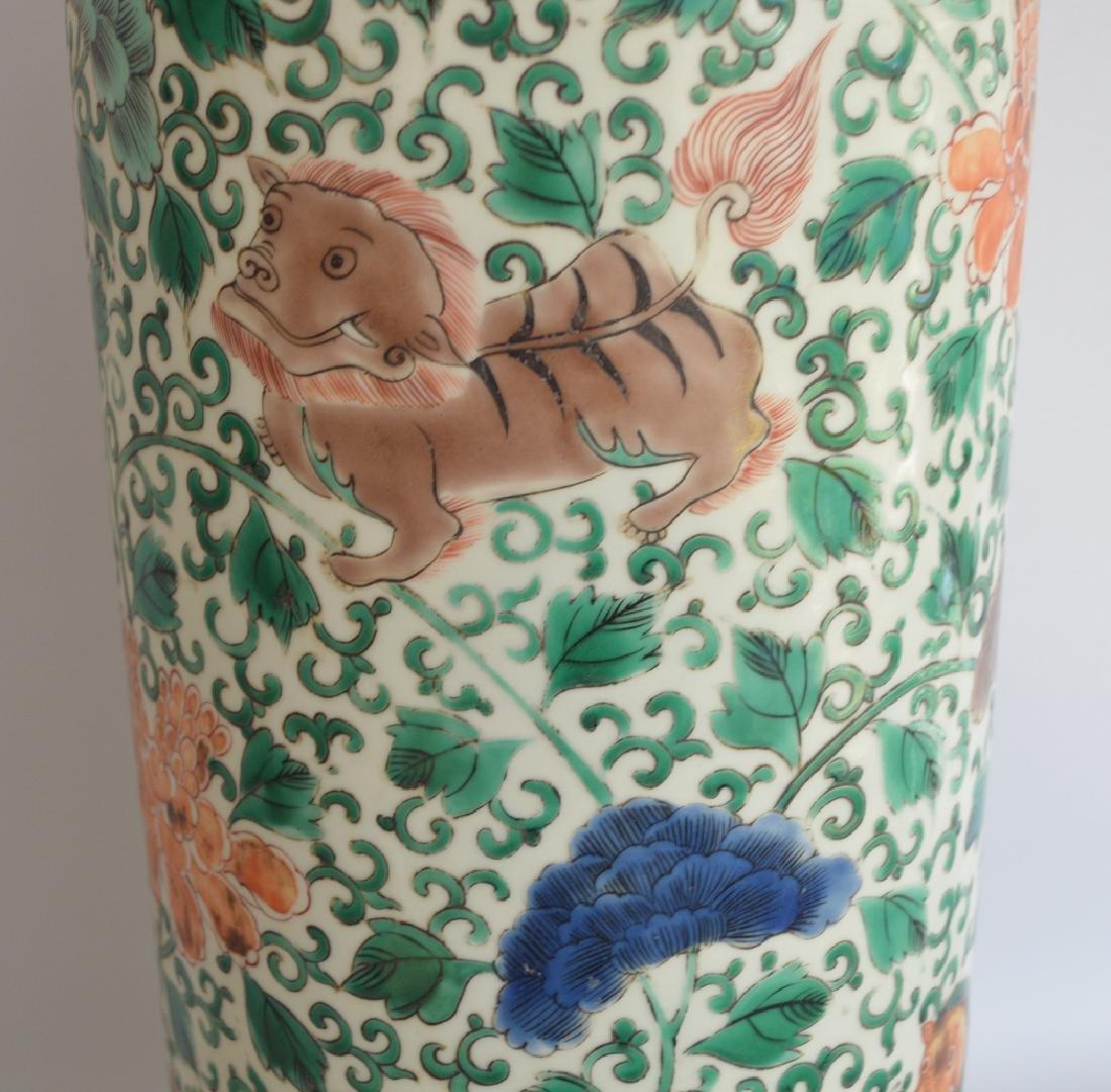 Chinese Porcelain Famille Verte Vase.  Condition: good. - 6