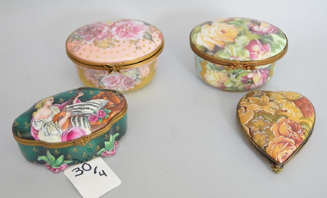 4 Limoges Rochard collection porcelain boxes, largest