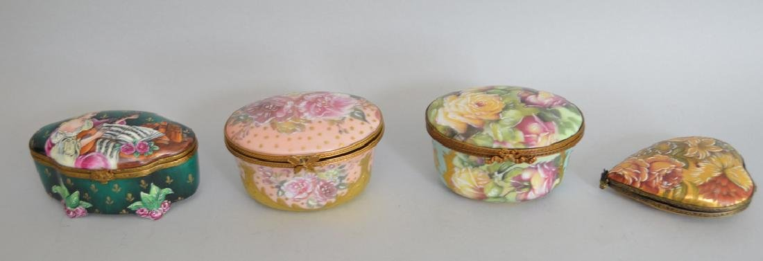 4 Limoges Rochard collection porcelain boxes, largest - 2