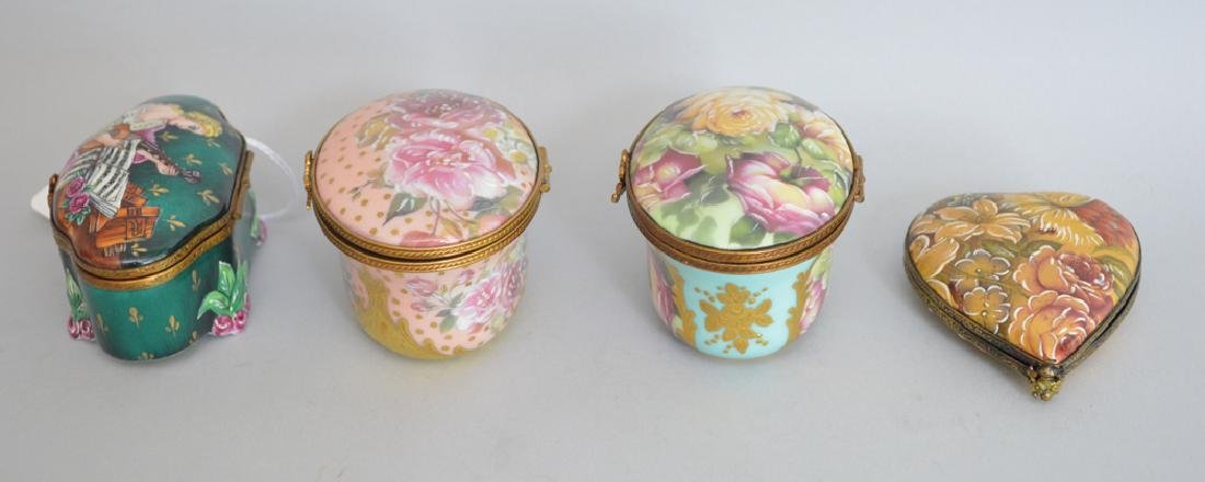 4 Limoges Rochard collection porcelain boxes, largest - 3