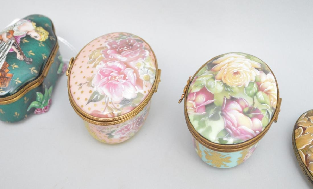 4 Limoges Rochard collection porcelain boxes, largest - 4