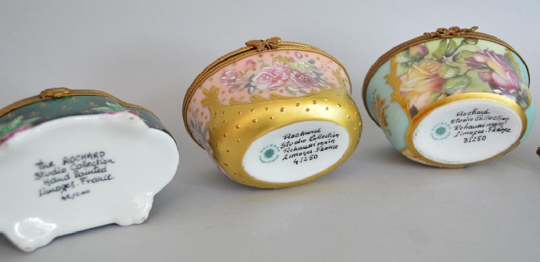 4 Limoges Rochard collection porcelain boxes, largest - 5